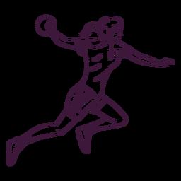 Handball player sport hand drawn
