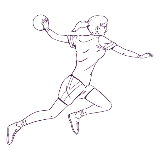 Dibujado a mano jugador de balonmano deporte