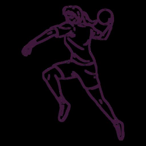 Dibujado a mano jugador de balonmano mujer