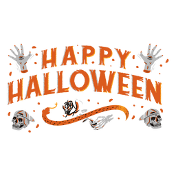 Feliz dia das bruxas assustador letras design