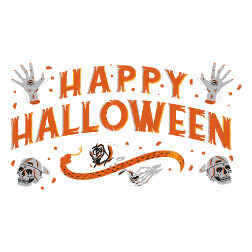 Happy halloween creepy lettering design Transparent PNG
