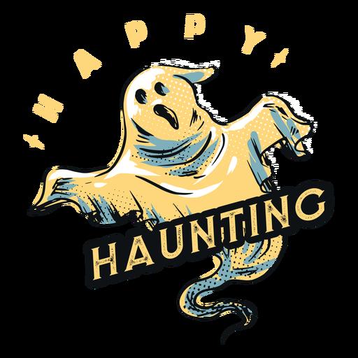 Emblema de fantasma assombrando feliz