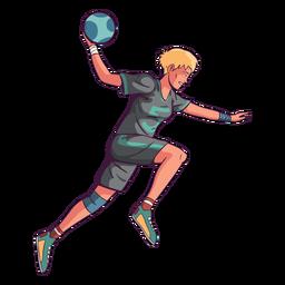 Hombre de jugador de balonmano de salto