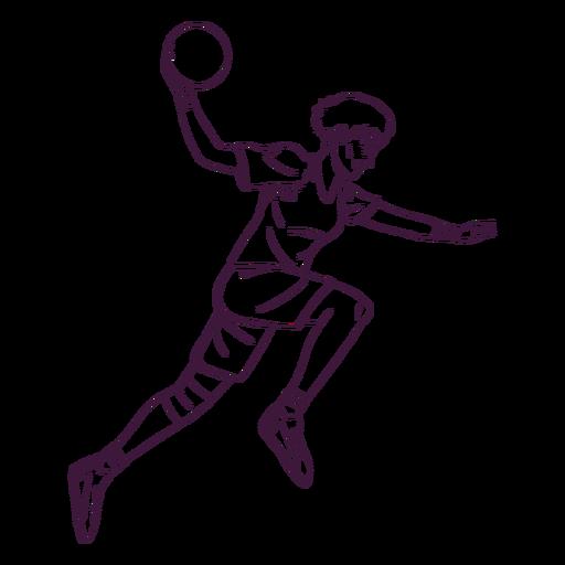 Salto de balonmano jugador hombre dibujado a mano