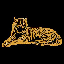 Acostado tigre dibujado a mano