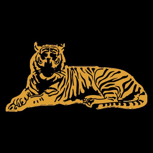 Laying tiger hand drawn
