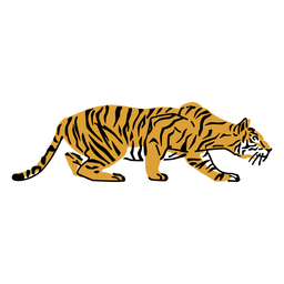 Lurking tiger hand drawn
