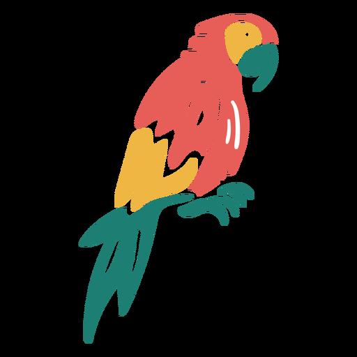 Diseño de doodle de pájaro tropical guacamayo