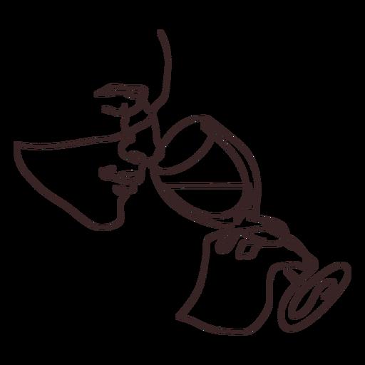 Hombre bebiendo vino dibujo de línea de vista lateral