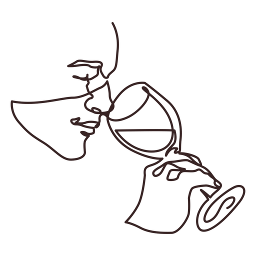 Man drinking wine side view line drawing