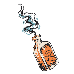 Mortal poison bottle illustration