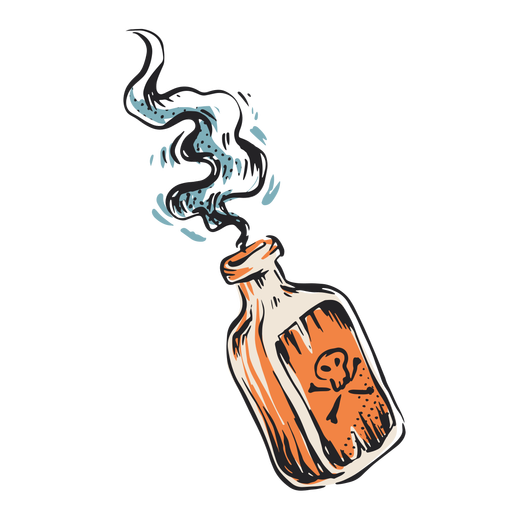 Mortal poison bottle illustration