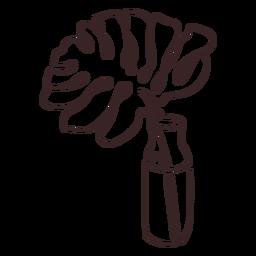 Dibujo lineal de la palma en una maceta