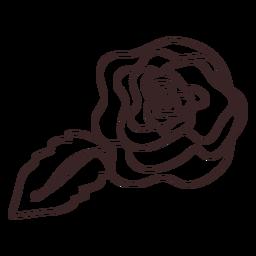 Diseño de dibujo lineal de flor y hoja de amapola