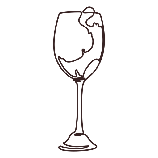 Pour wine glass line drawing