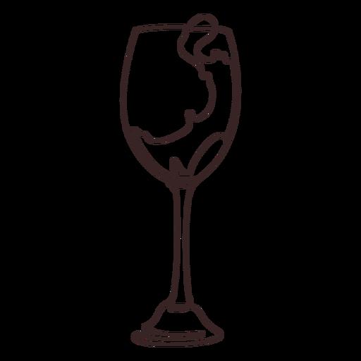 Vierta el dibujo de línea de copa de vino