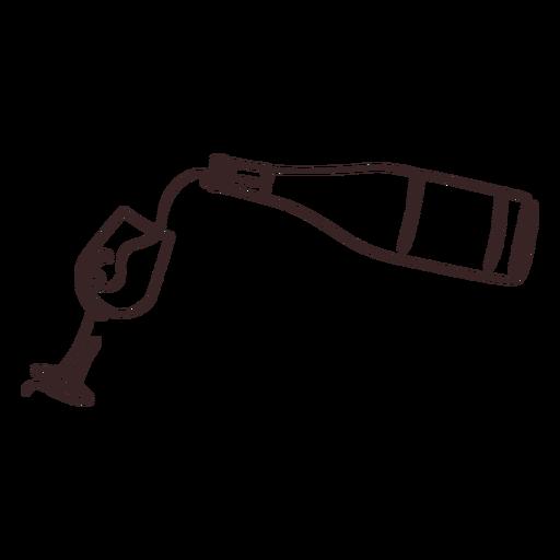Derramando vinho desenho de linha de vinho