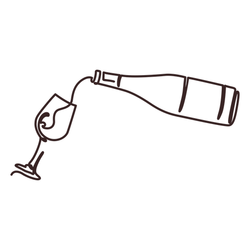 Pouring wine line drawing stroke wine