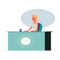 Receptionist woman character illustration