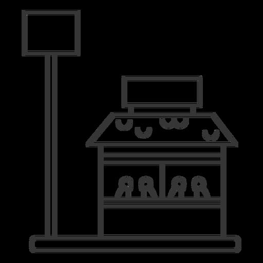 Edificio de restaurante y trazo de señal.