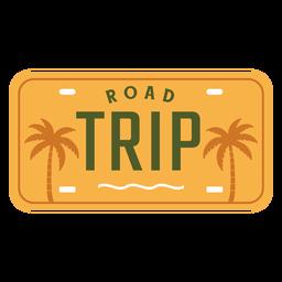 Diseño de palmas de letras de viaje por carretera
