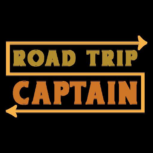 Road trip captain lettering
