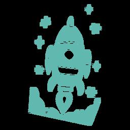 Diseño de cohete estilo doodle