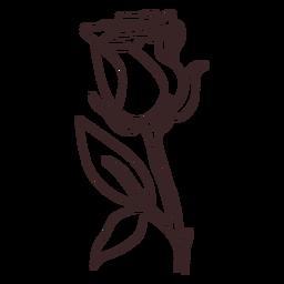 Trazo de dibujo lineal de planta de rosa