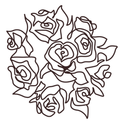 Curso de desenho de linha de buquê de rosas