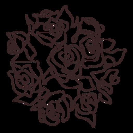 Ramo de rosas trazo de dibujo lineal