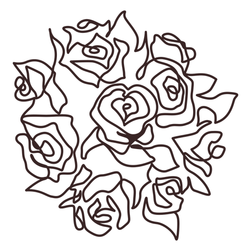 Roses bouquet line drawing stroke