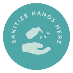 Sanitize hands here circle sign