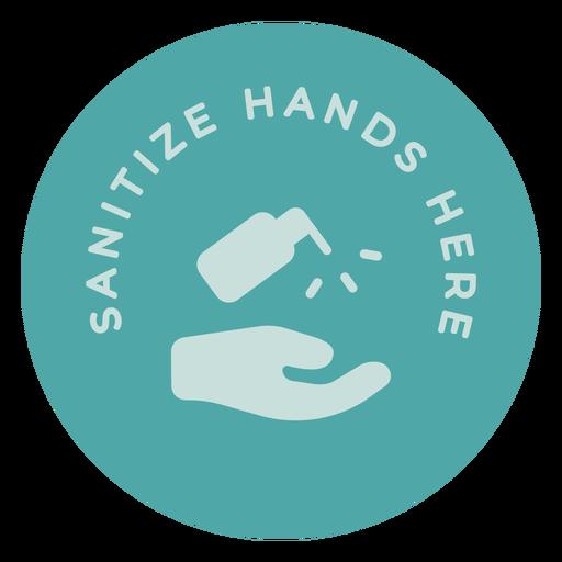 Desinfectar las manos aquí signo de círculo