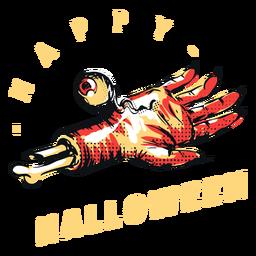 Distintivo de feliz dia das bruxas mão assustadora
