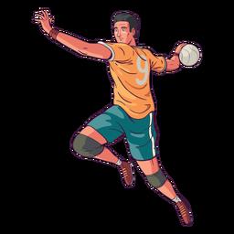 Ilustração de jogador de handebol de vista lateral