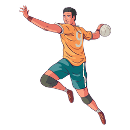 Side view handball player illustration