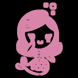 Diseño de niña sirena sentada