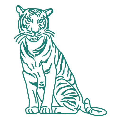 Desenho de tigre sentado