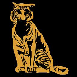 Desenho desenhado à mão de tigre sentado