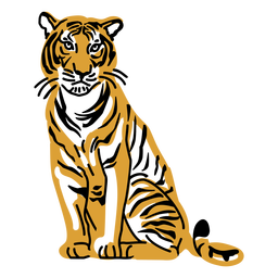 Sitting tiger hand drawn design