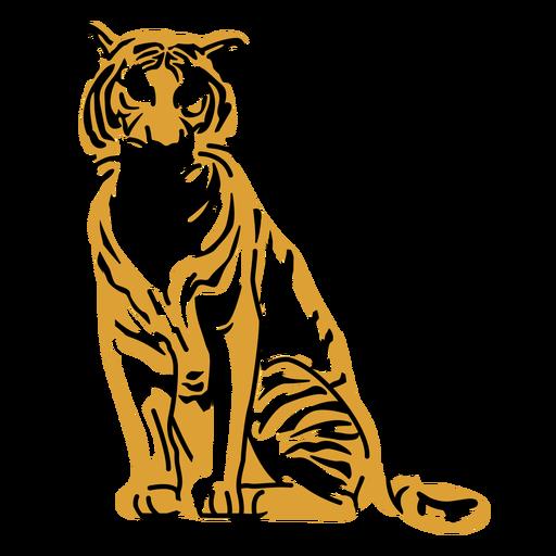 Dise?o dibujado a mano tigre sentado