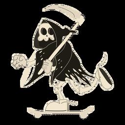 Esqueleto skater personaje de halloween