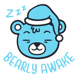 Desenho de cabeça de urso sonolento