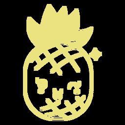 Smiley süße Ananas flach