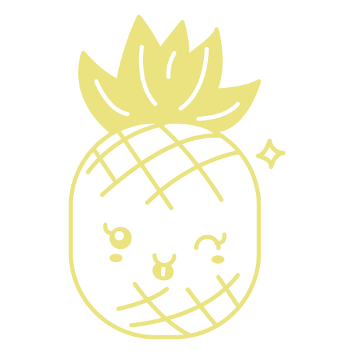 Smiley cute pineapple flat Transparent PNG