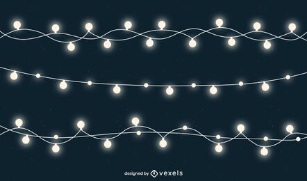 Pacote de cordas de luzes de Natal brancas brilhantes