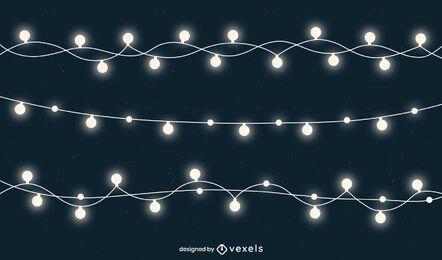 Pacote de cordas de luzes de Natal branco brilhante
