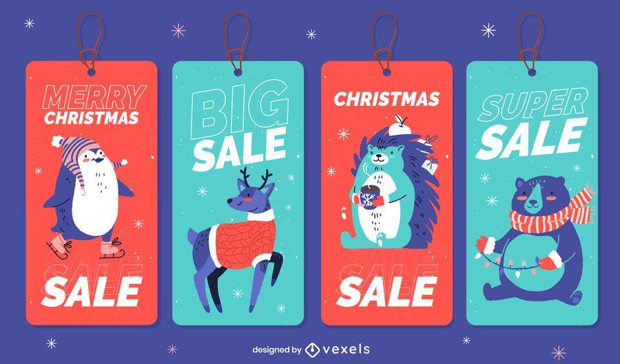 Paquete de etiquetas de venta de animales navideños