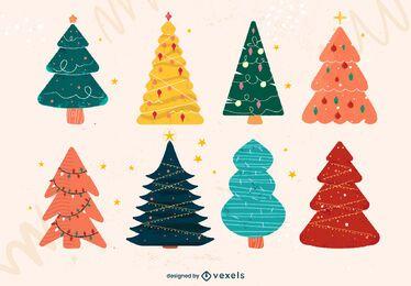Pacote de Doodle plana de árvore de Natal