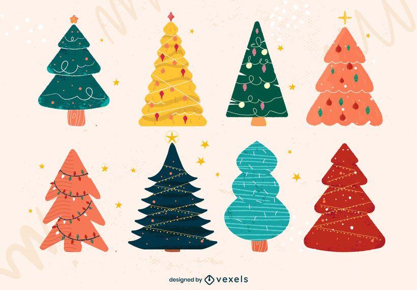Paquete de Doodle plano de árbol de Navidad